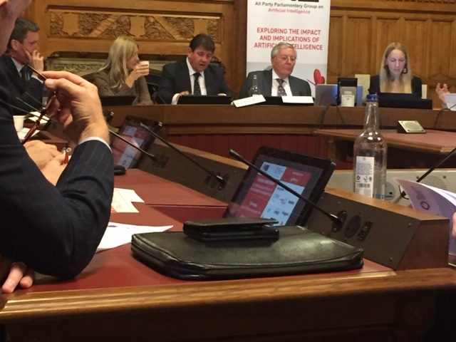 All-Party Parliamentary Group on Artificial Intelligence (AI) held in the House of Lords -October 2019